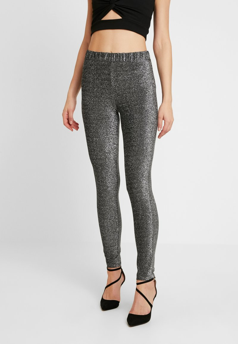 Pieces - Trousers - black/silver