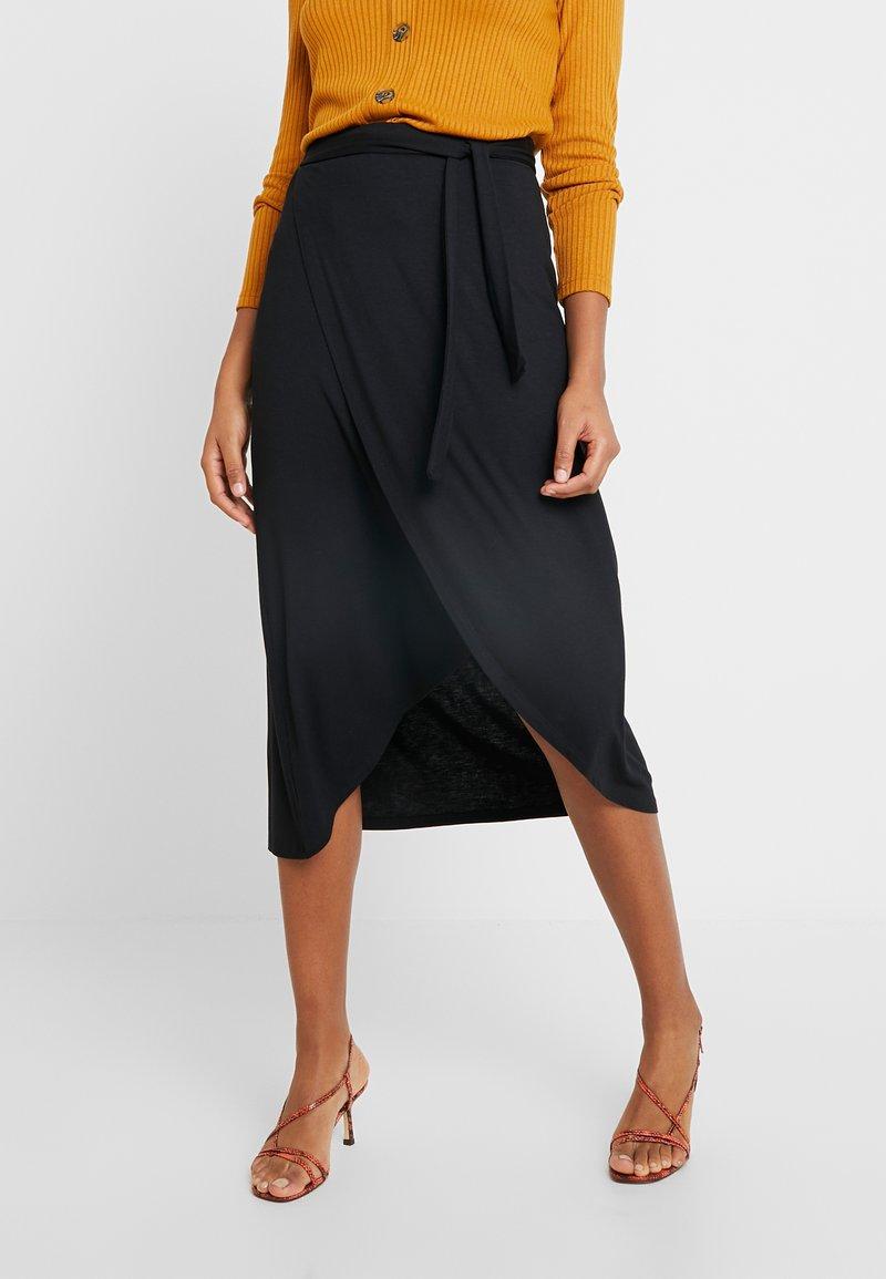 Pieces - PCELONORA MIDI WRAP SKIRT - Wrap skirt - black