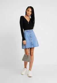 Pieces - A-line skirt - light blue denim - 1
