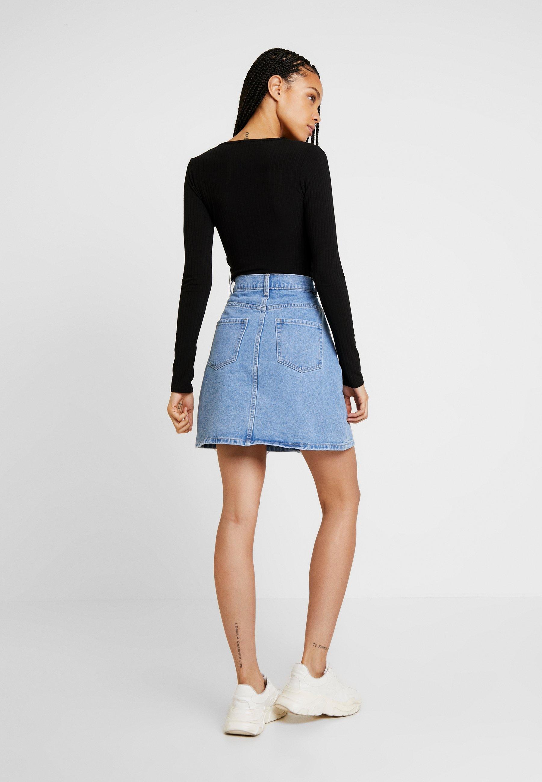 Jean Light En Pcfate Pieces Button SkirtShort Blue Denim 9EHD2I