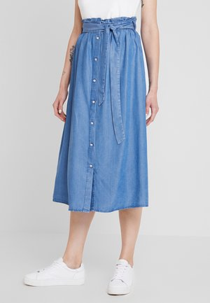 WHY MIDI TIE BELT SKIRT - Maxinederdele - medium blue denim
