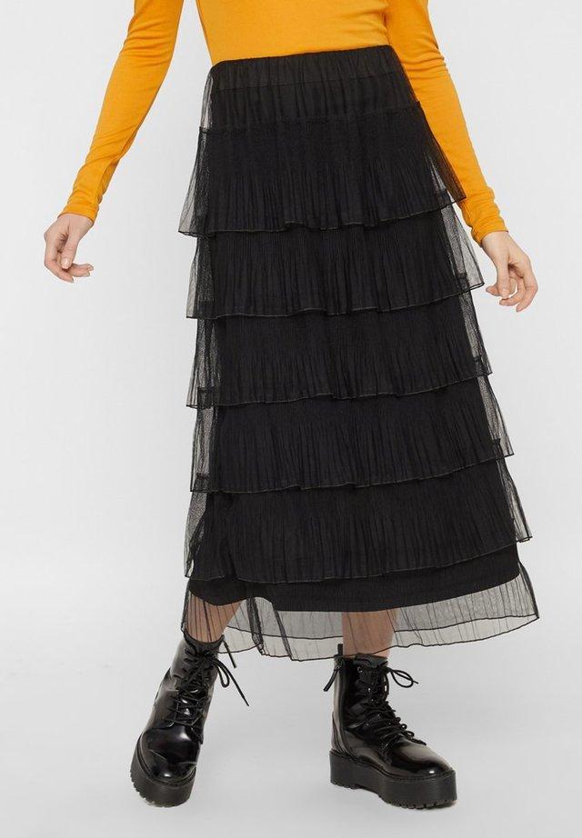 MIT STUFEN PLISSEE - Spódnica trapezowa - black