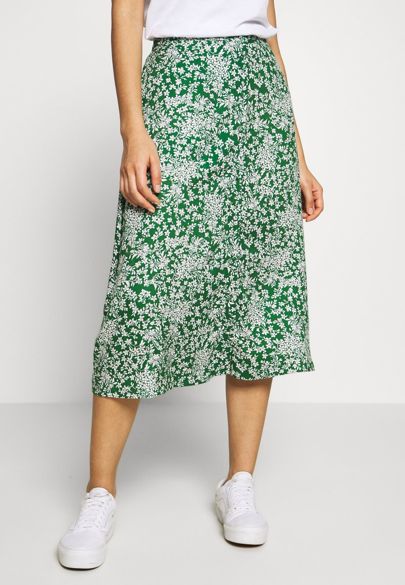 Pieces - PCANGILICA HW MIDI SKIRT - A-line skjørt - verdant green/boho flowers