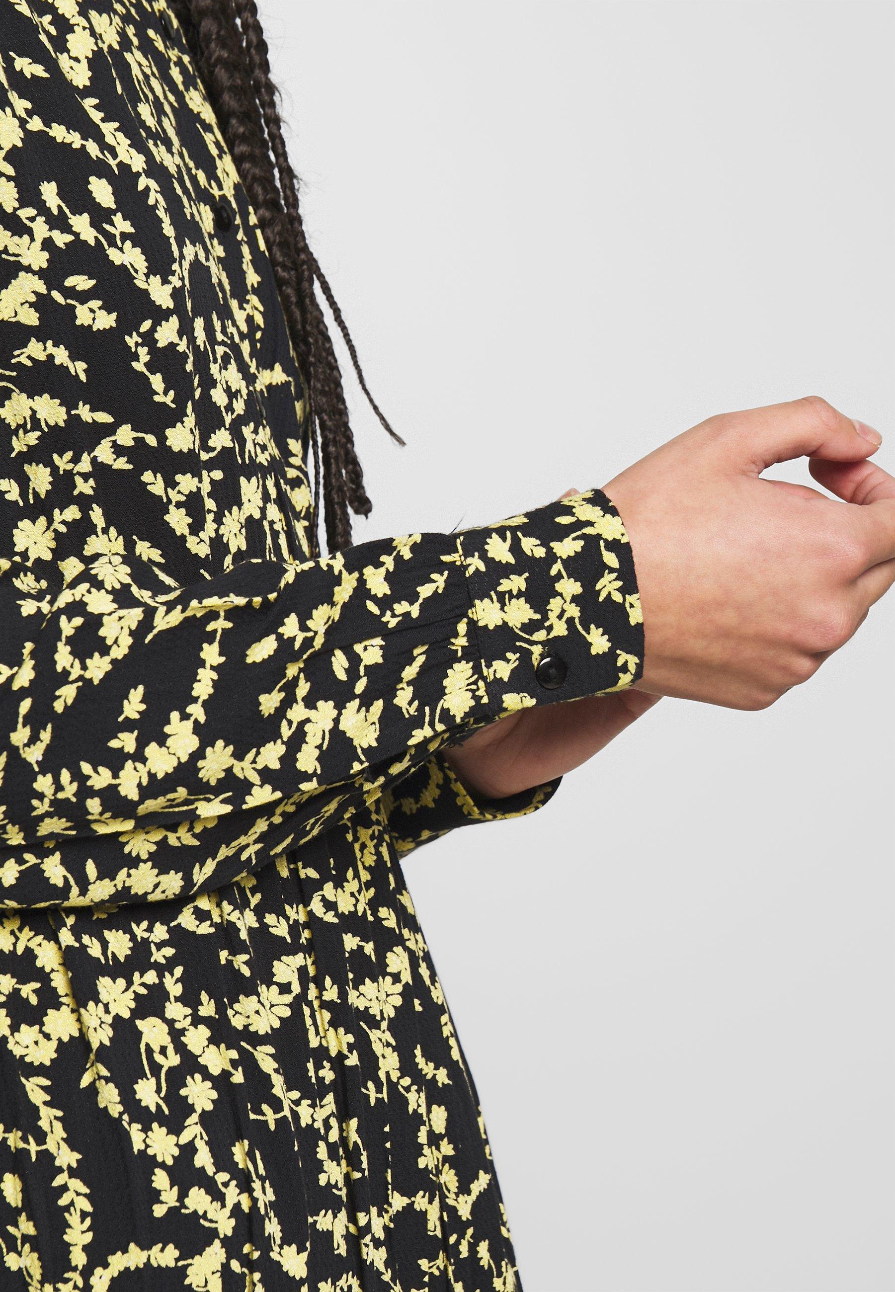 Pieces PCNADIN  MIDI DRESS - Sukienka koszulowa - black/silhouette flowers