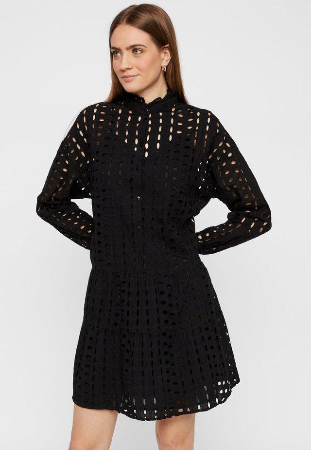 MIDIKLEID LOCHSTICKEREI - Shirt dress - black