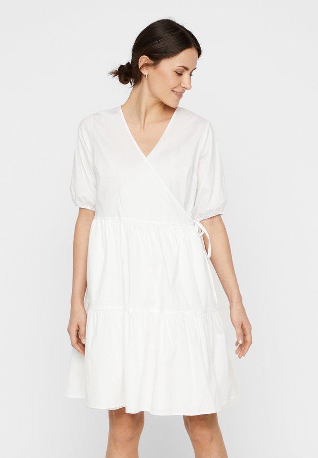 WICKELKLEID PUFFÄRMEL - Korte jurk - bright white