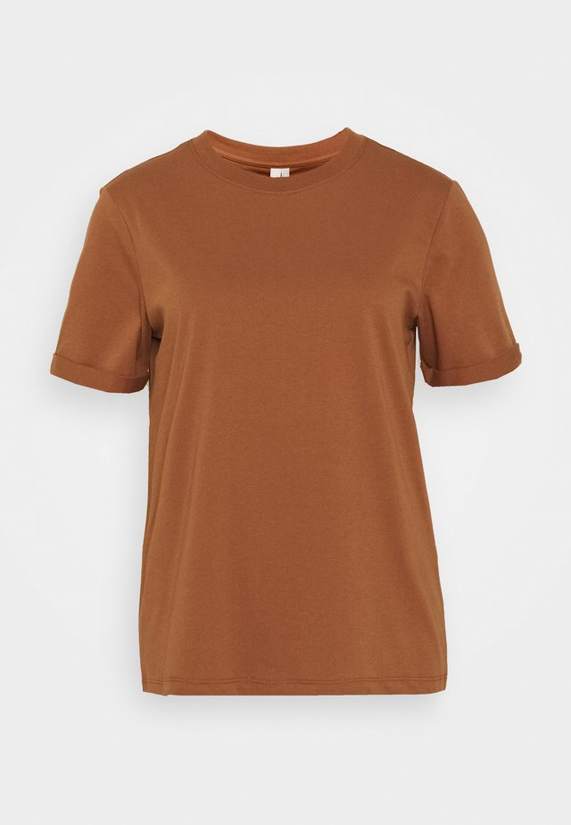 PCRIA FOLD UP TEE - Basic T-shirt - mocha bisque