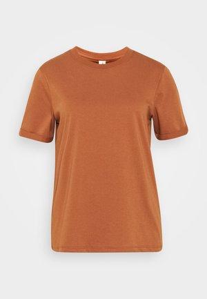 PCRIA FOLD UP SOLID TEE - T-shirt basic - mocha bisque
