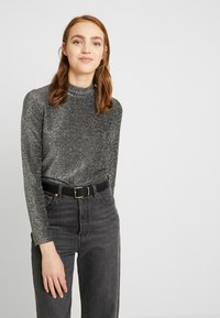 Pieces - Long sleeved top - black/silver - 0