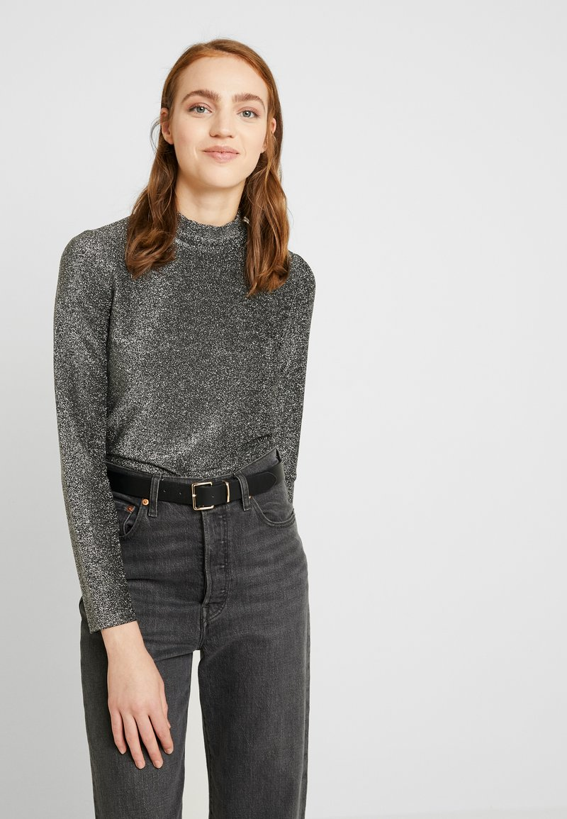 Pieces - Long sleeved top - black/silver