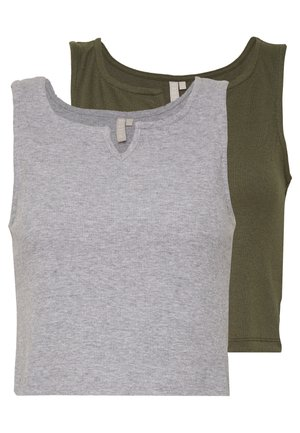 PCPOPPY TANK 2 PACK - Top - light grey melange/kalamata