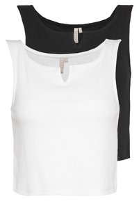 Pieces - PCPOPPY TANK 2 PACK - Topper - black/white - 0