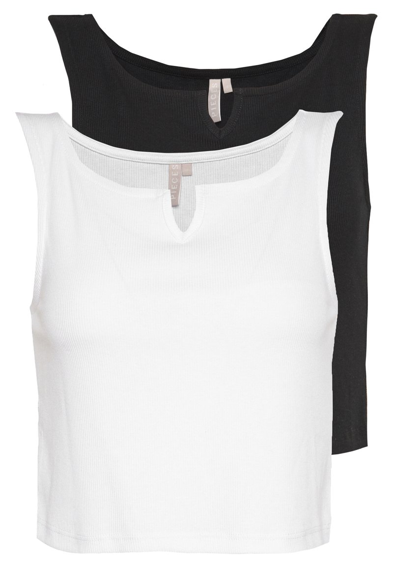 Pieces - PCPOPPY TANK 2 PACK - Topper - black/white