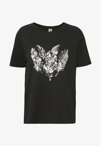 Pieces - PCFEATHER TEE - Print T-shirt - black - 4