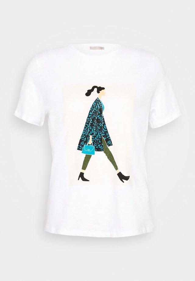 PCSOFIA GLITTER TEE - T-shirt z nadrukiem - bright white