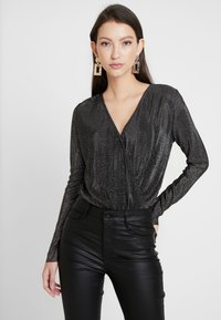 Pieces - Blouse - black/silver - 0