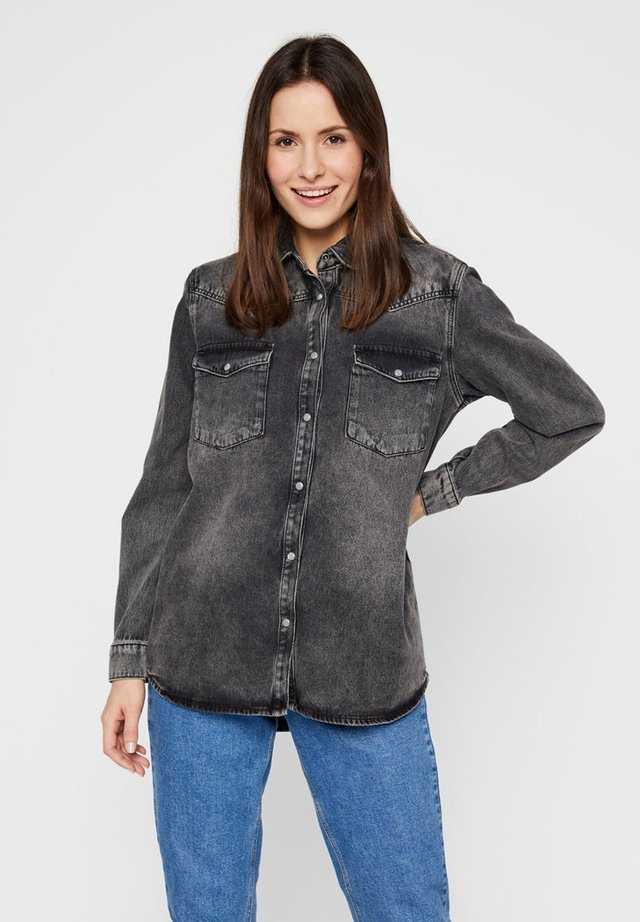 Button-down blouse - black denim