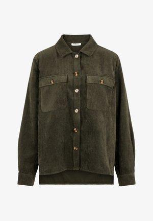 Button-down blouse - deep lichen green