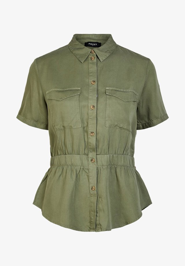 PIECES HEMD ELASTIKBUND - Button-down blouse - deep lichen green