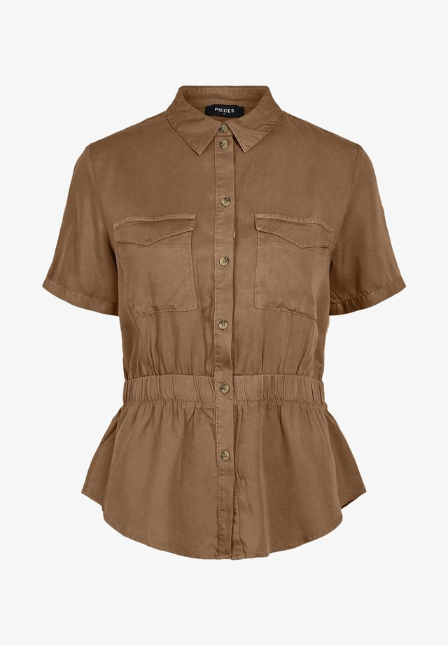 PIECES HEMD ELASTIKBUND - Button-down blouse - toasted coconut