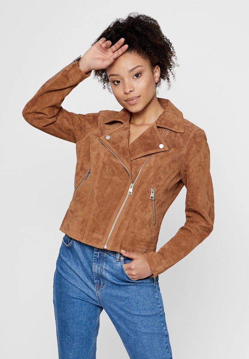 Pieces - Leather jacket - toasted coconut