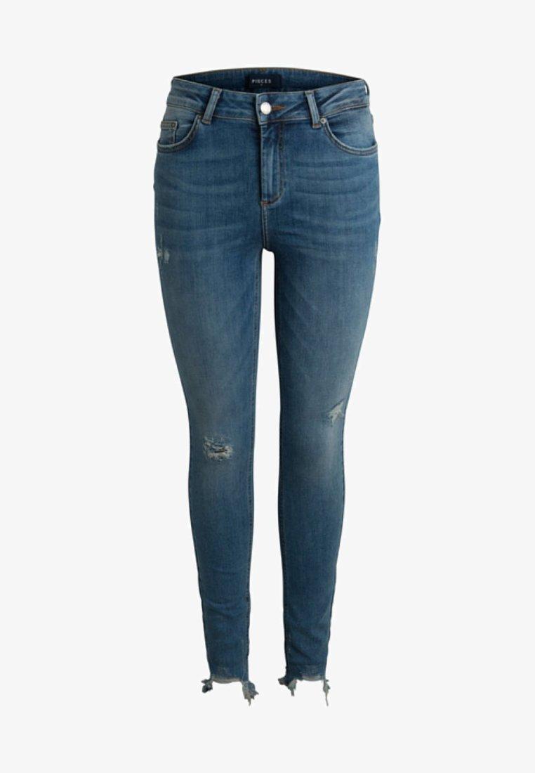Pieces - MID WAIST  - Jeans Skinny Fit - medium blue denim