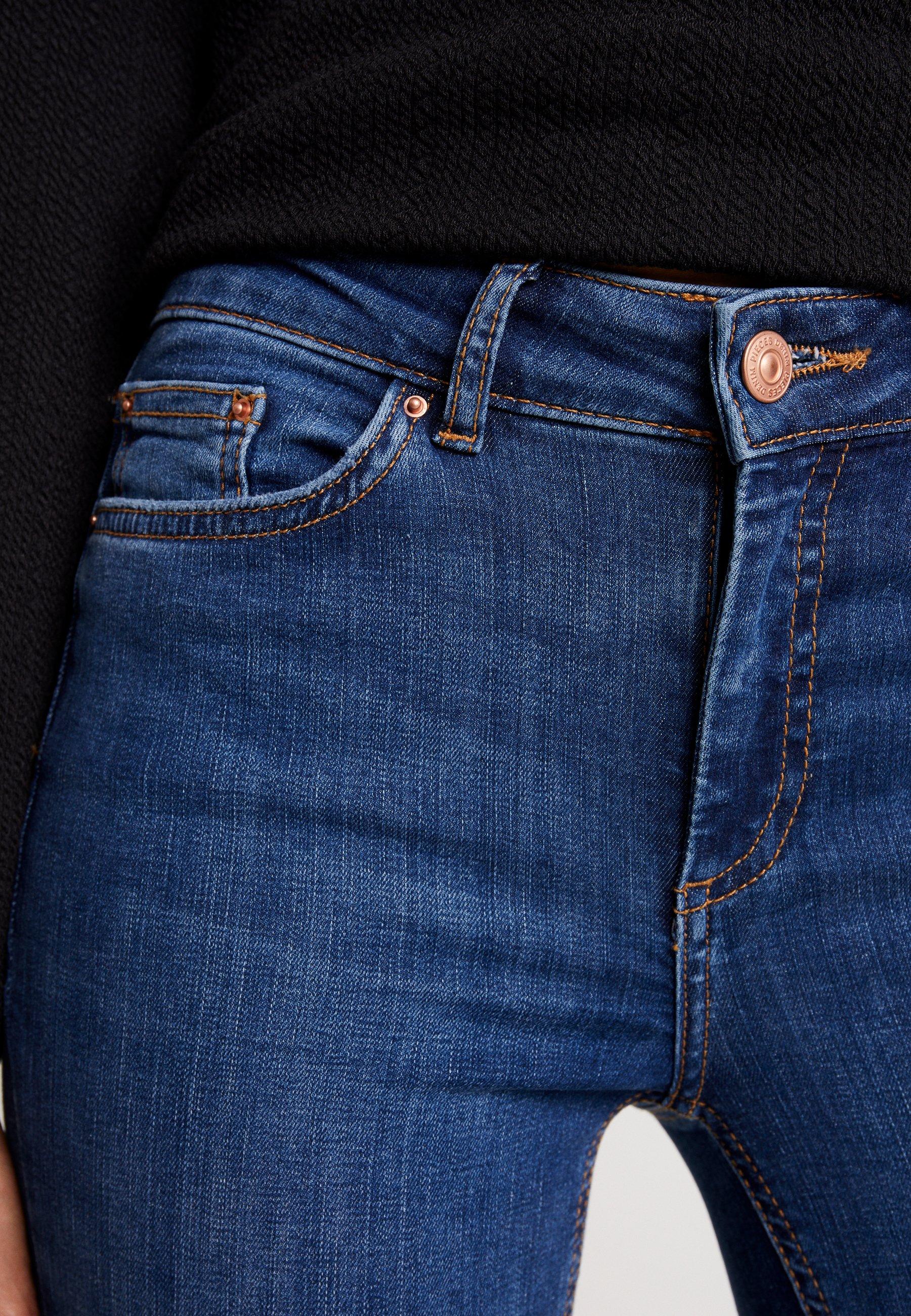 Pieces PCDELLY - Jeansy Skinny Fit - medium blue denim