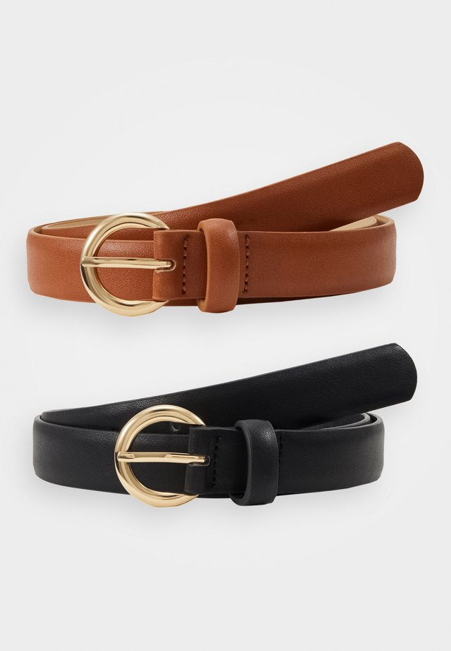 PCNOMI BELT 2 PACK - Riem - black/cognac