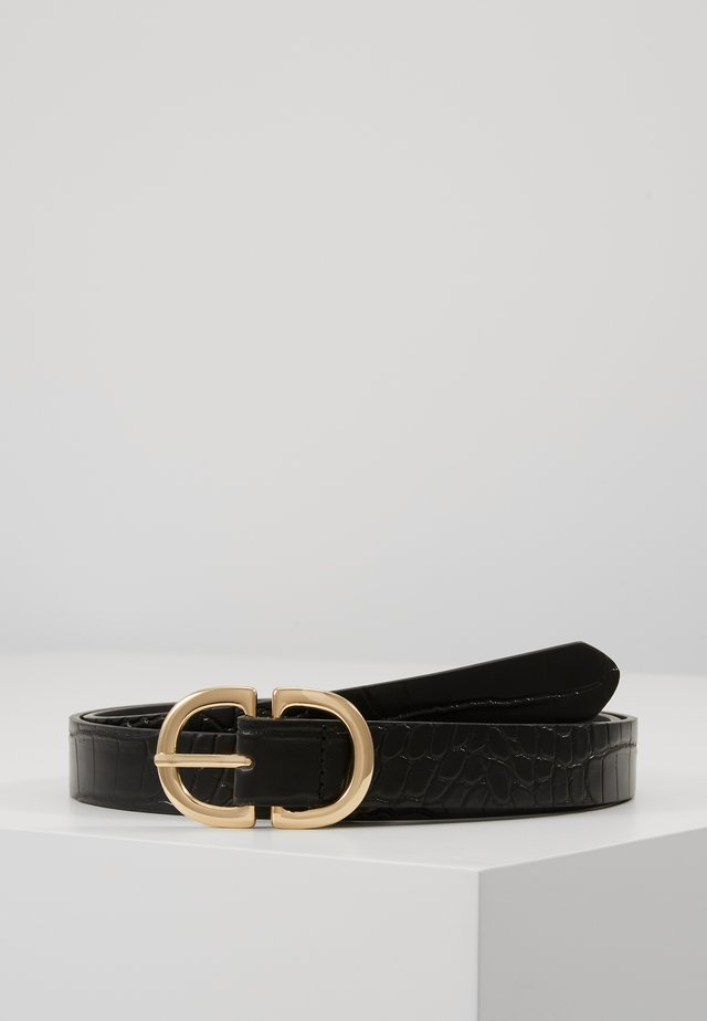 PCDUVA BELT - Riem - black/croco/gold-coloured
