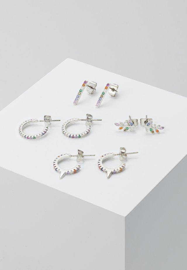 PCFAB HOOP EARRINGS 4 PACK - Oorbellen - silver-coloured/multi