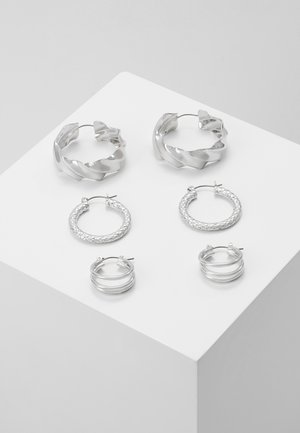 PCMAILA HOOP EARRINGS 3 PACK - Øredobber - silver-coloured