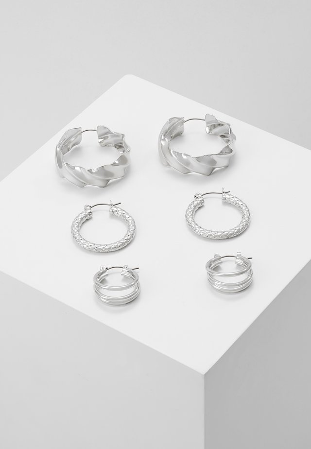 PCMAILA HOOP EARRINGS 3 PACK - Orecchini - silver-coloured