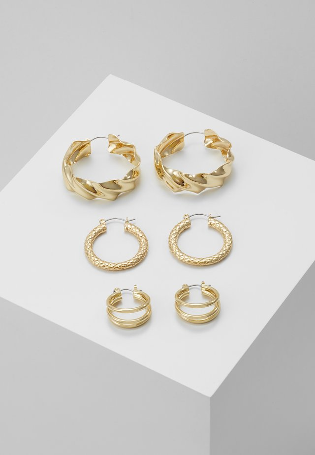 PCMAILA HOOP EARRINGS 3 PACK - Náušnice - gold-coloured