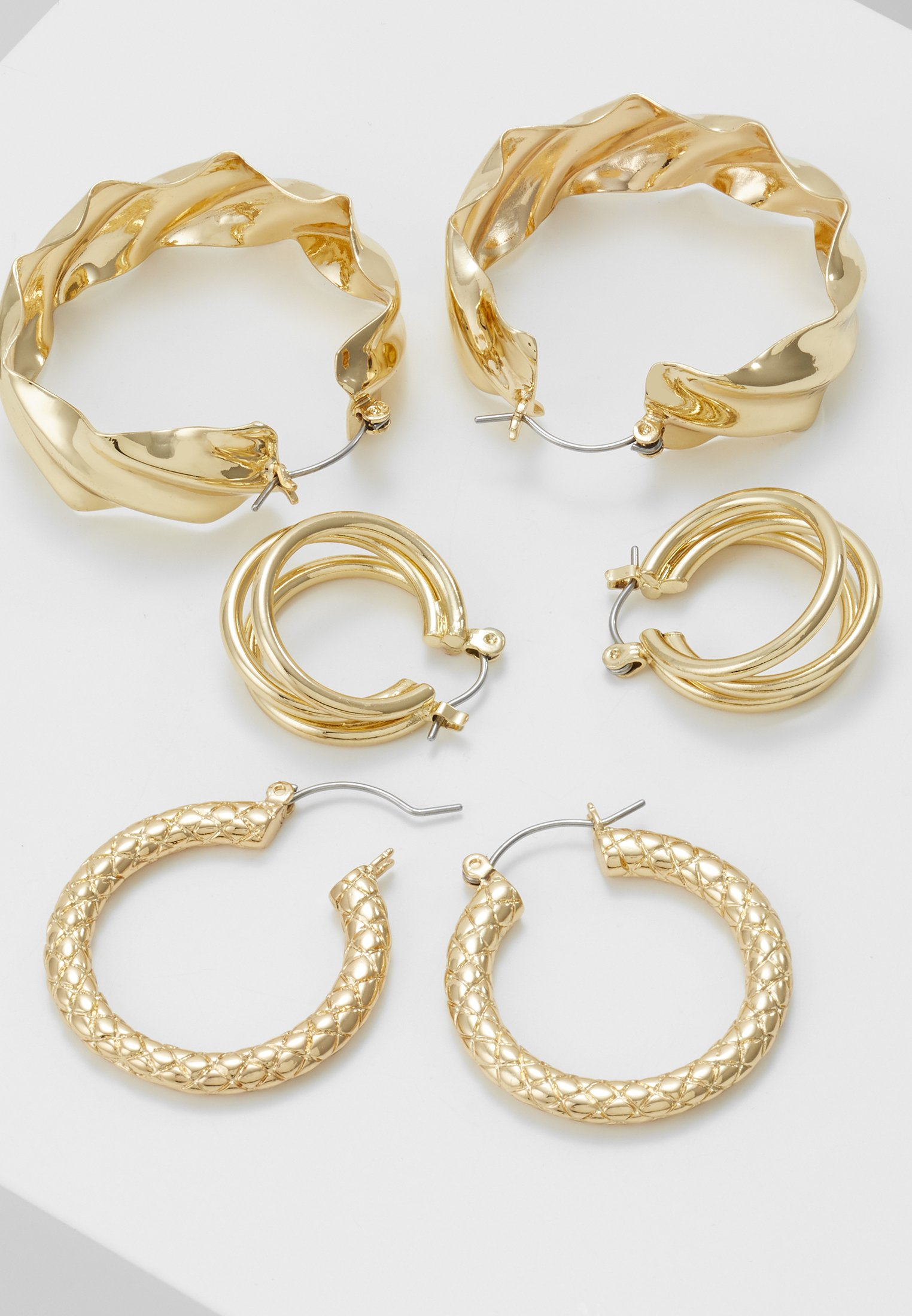 coloured Earrings Gold Pcmaila Hoop D'oreilles PackBoucles 3 Pieces PkXZuOi