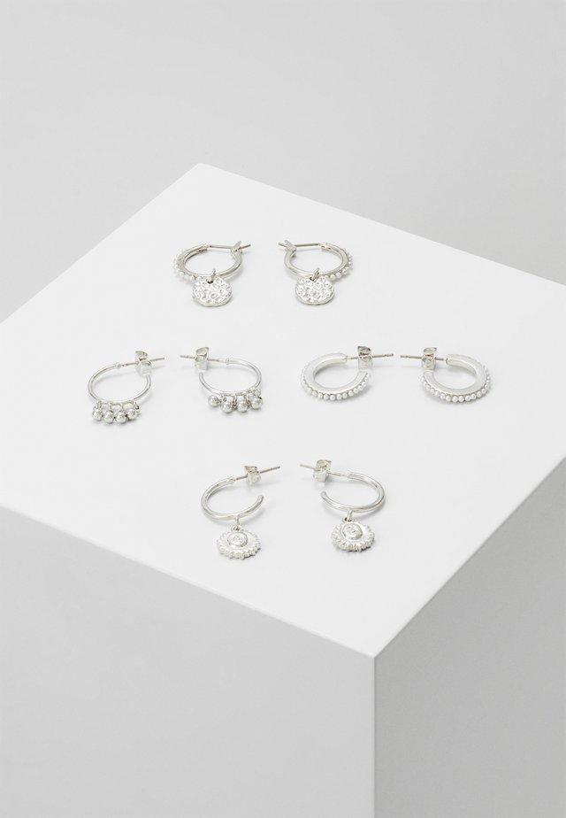 PCHIPEA HOOP EARRINGS 4 PACK - Øreringe - silver-coloured