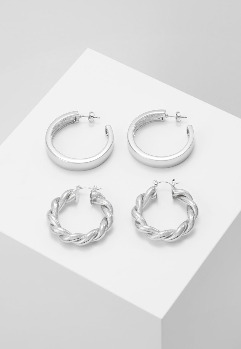 Pieces - PCOLKA HOOP EARRINGS 2 PACK - Øredobber - silver-coloured