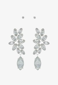 Pieces - PCDIAM EARRINGS KEY 2 PACK - Náušnice - silver colour/clear - 3