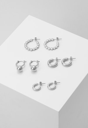 PCDIELLE HOOP EARRINGS 4 PACK  - Kolczyki - silver-coloured