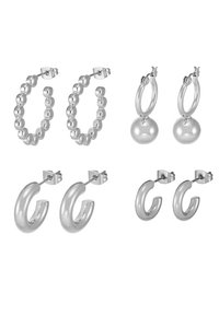 Pieces - PCDIELLE HOOP EARRINGS 4 PACK  - Náušnice - silver-coloured - 4