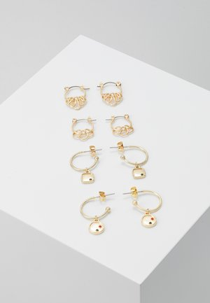 PCORINGA HOOP EARRINGS 4 PACK - Øredobber - gold-coloured