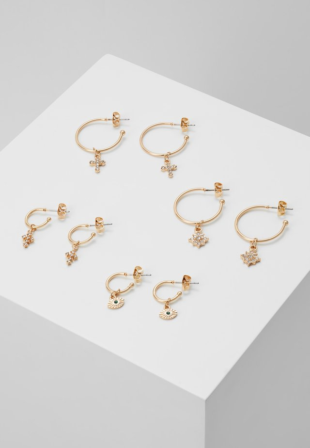 PCNAOMI HOOP EARRINGS 4 PACK - Náušnice - gold-coloured/green