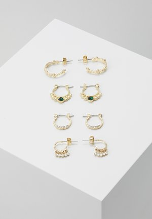 PCDORIANA HOOP EARRING 4 PACK - Boucles d'oreilles - gold-coloured/green