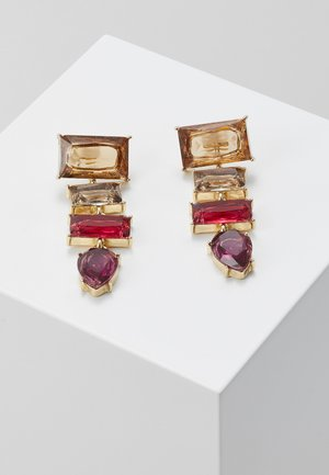 PCKRYSTALOS EARRINGS - Oorbellen - gold-coloured/red