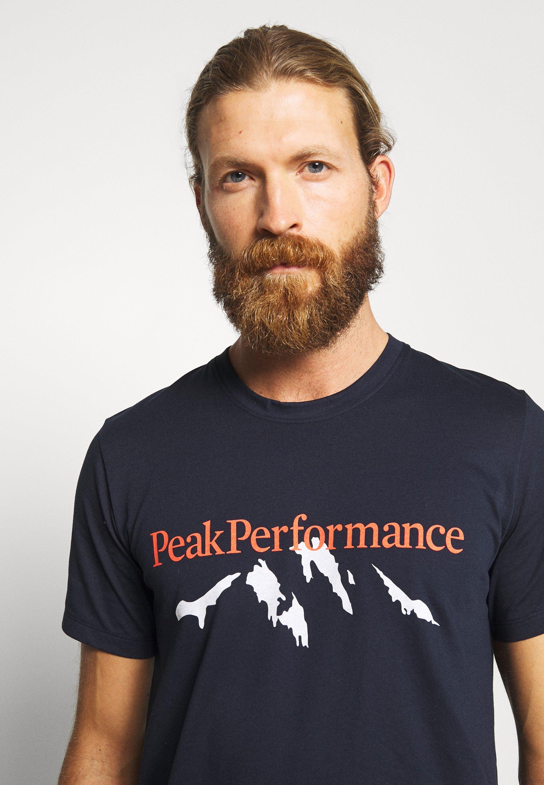 Peak Performance EXPLORE TEE MOUNTAIN - T-shirt z nadrukiem - blue shadow