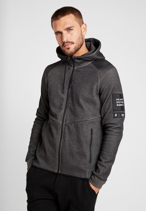 TECH - Mikina na zip - dark grey melange