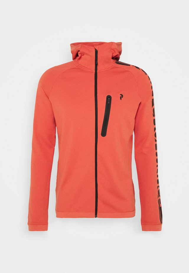 POWER ZIP HOOD - Verryttelytakki - clay red