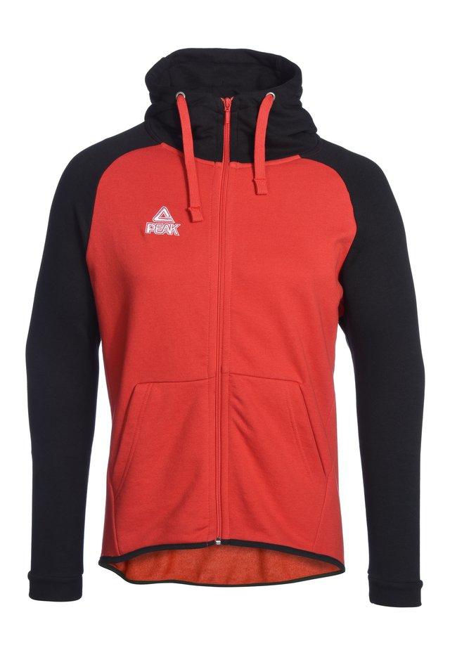 Zip-up hoodie - rot schwarz