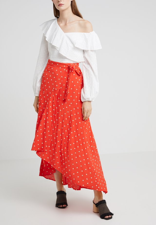 MARGARITA WRAP MIDI SKIRT - Wickelrock - red