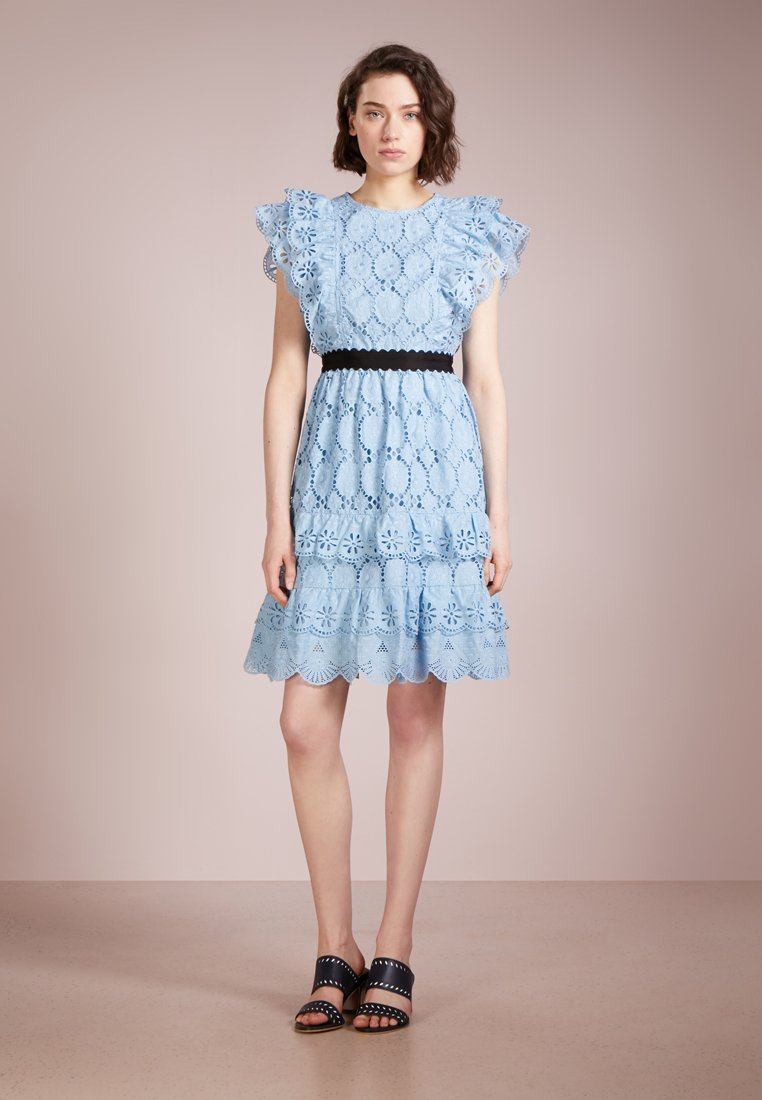 PERSEVERANCE LONDON - CLOVER EMBROIDERY ANGLAISE RUFFLED  - Cocktail dress / Party dress - pale blue