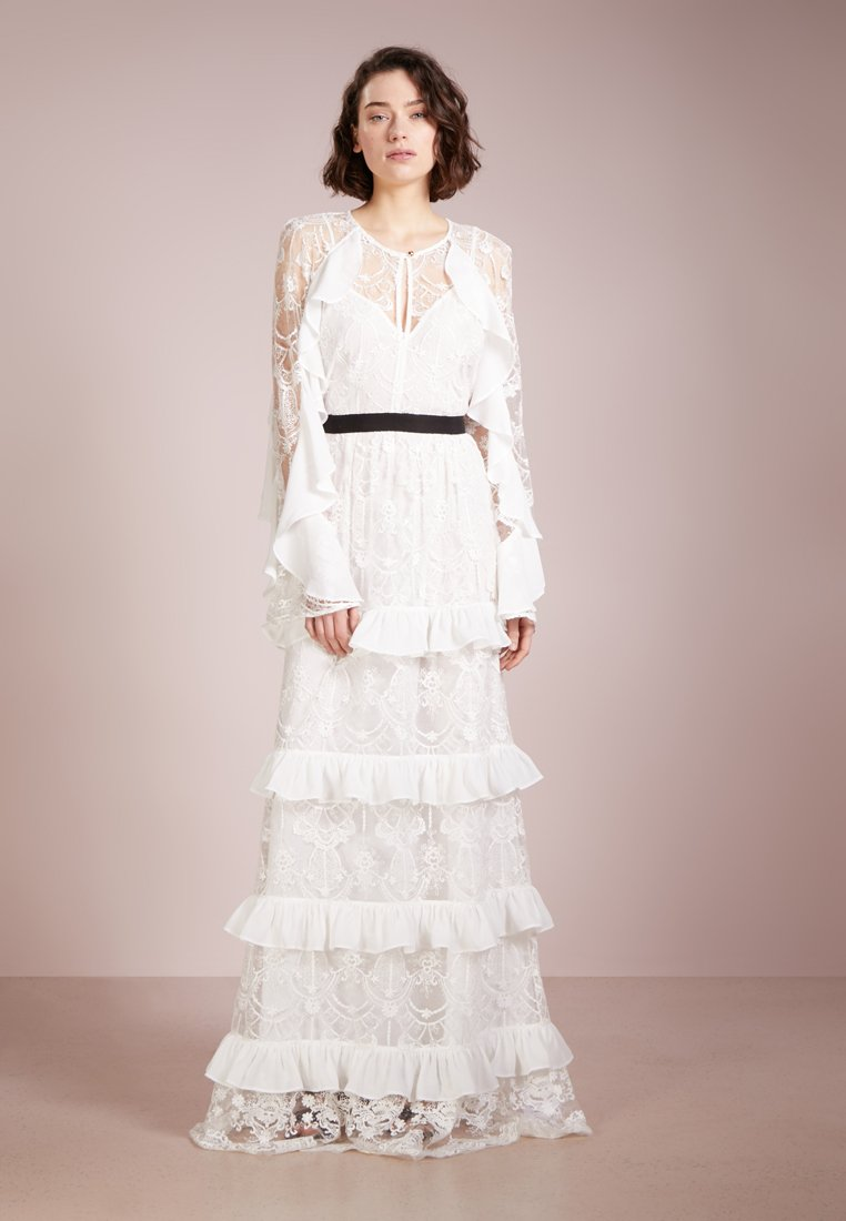 PERSEVERANCE LONDON - FLORAL DAMASK RUFFLED GOWN - Occasion wear - offwhite